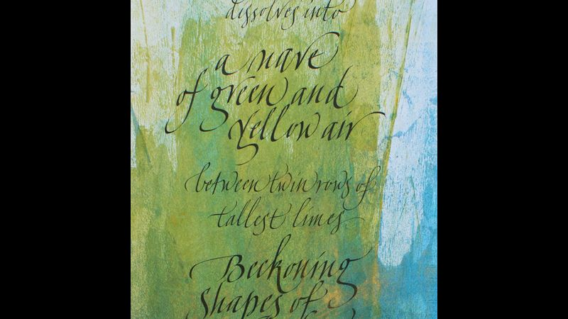 Sumi ink , acrylic wash ,  ,italic variation, one of many scripts taught at Ely Cambs  workshops