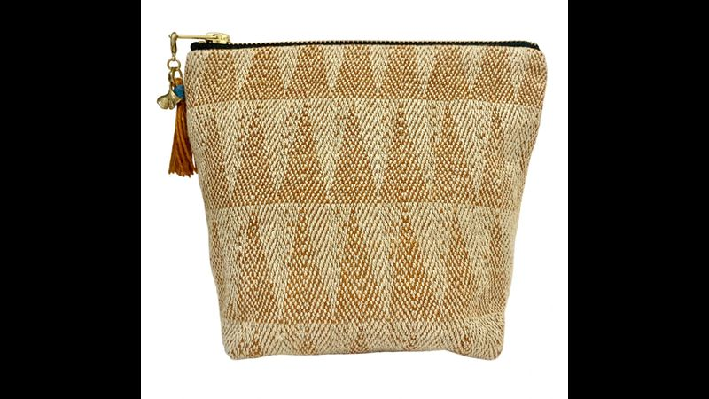 Naturally dyed make-up bag hand-woven in the UK