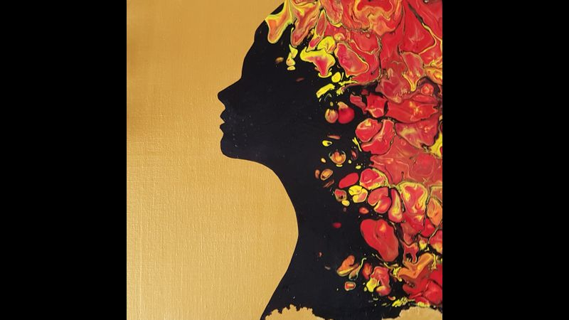 Lady Silhouette paint pouring