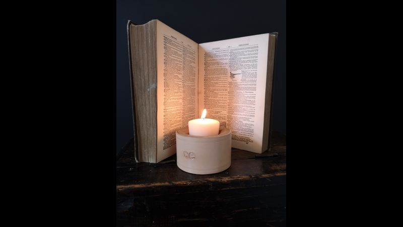 Natural leather and reclaimed wood Cannwyll Candle Holder (small)