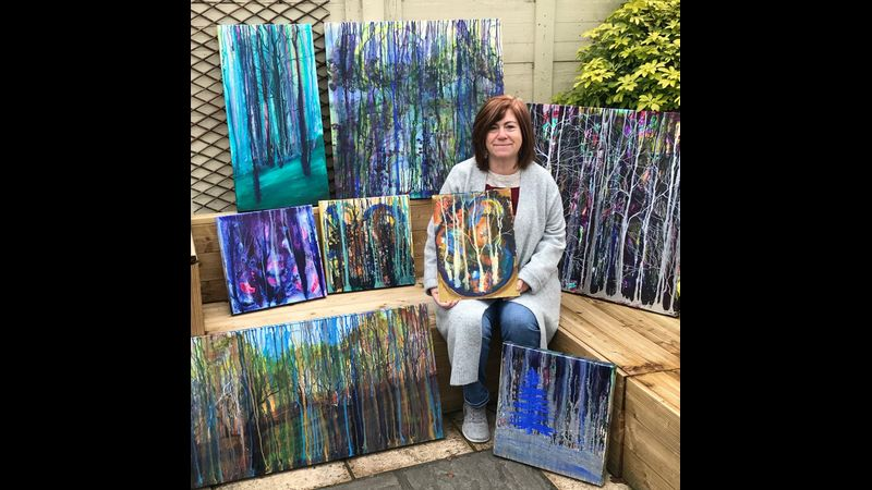 Marion & her paintings.