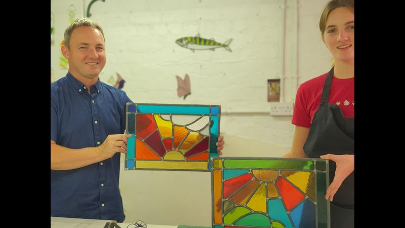 Examples of stained glass made during this course.