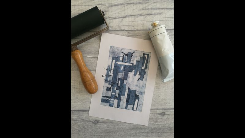 City life - Collograph print