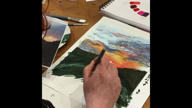 Working from source images, using acrylics and watercolours