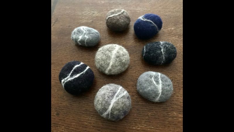 Small spiral wet felted wool pebbles