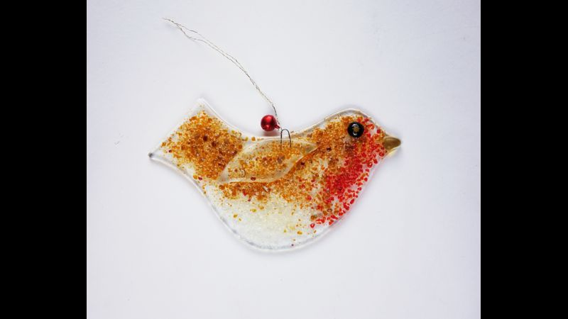 Large Fused Glass Robin Kit 138mm