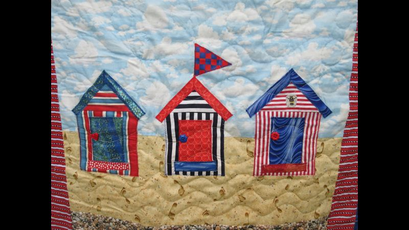 Close up of beach huts quilt