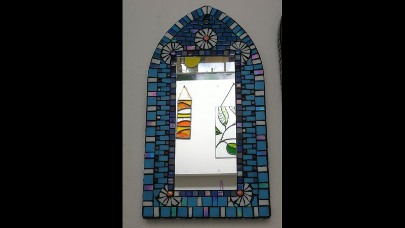 Blue Daisies Mosaic Mirror