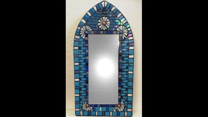 Blues Daisies Mosaic Mirror