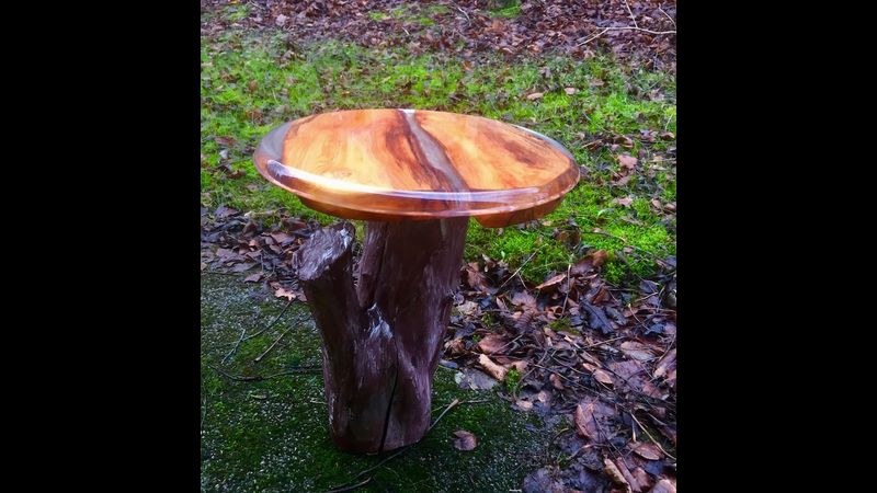 Occasional/Side table finished with clear coat resin