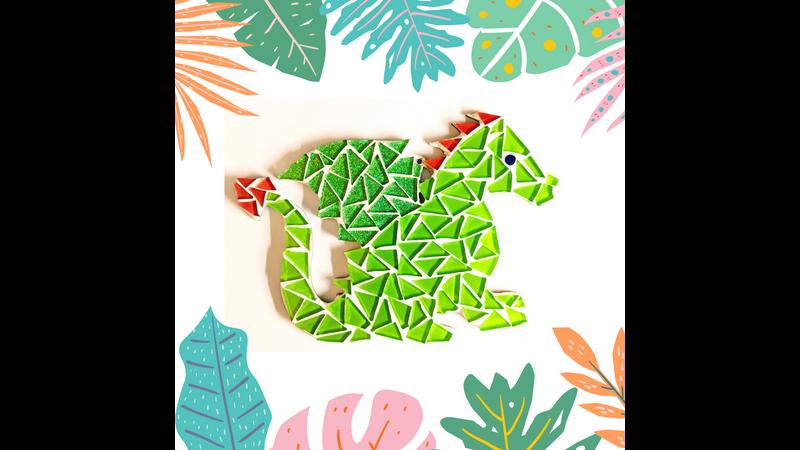 Green sparkly dragon mosaic kit