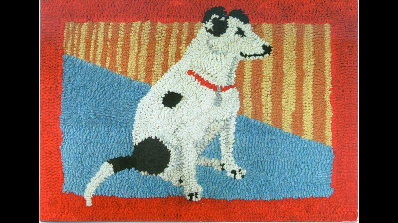 Hooked terrier rug