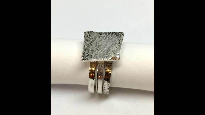 Three silver stacking rings by Emma Hardwidge, 2019