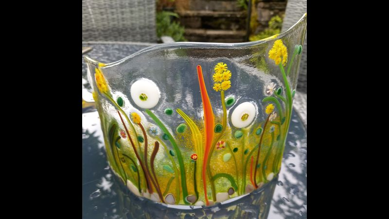 A sample of fused glass