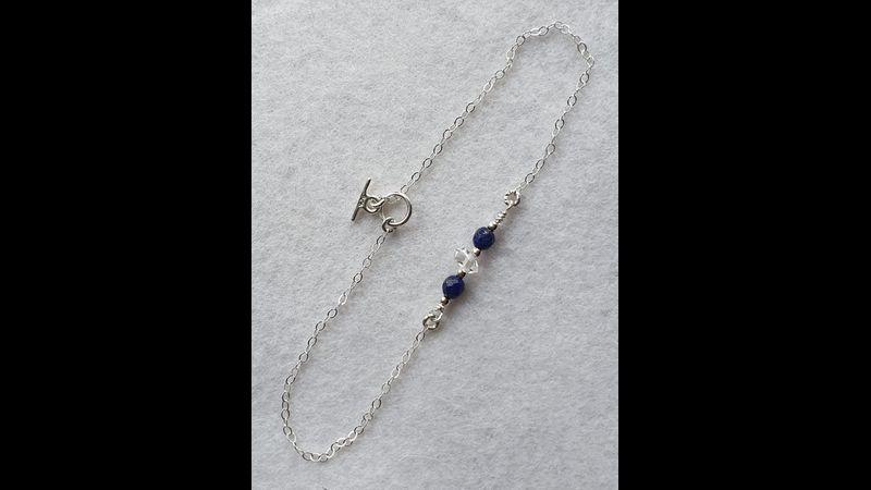 ♥ Completed 925 Hallmarked Herkimer Diamond & Genuine Gemstone Lapis Lazuli Bracelet (Part of Set) ♥
