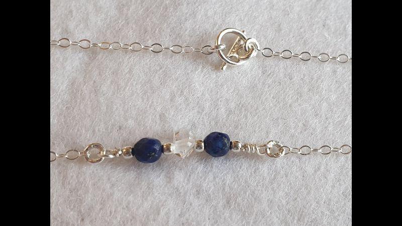 ♥ Herkimer Diamond & Lapis Lazuli 925 Sterling Silver Bracelet ~ Handmade in Lancashire UK (Part of Set) ♥