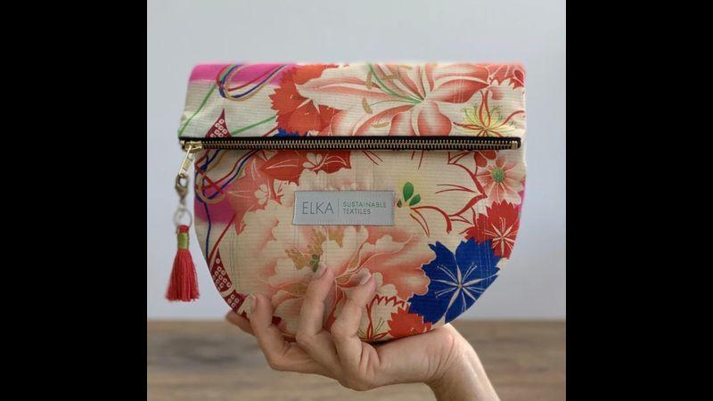 Vintage kimono clutch bag handwoven in the UK