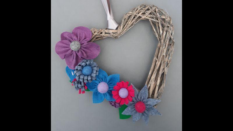 Felt Floral Heart Wreath