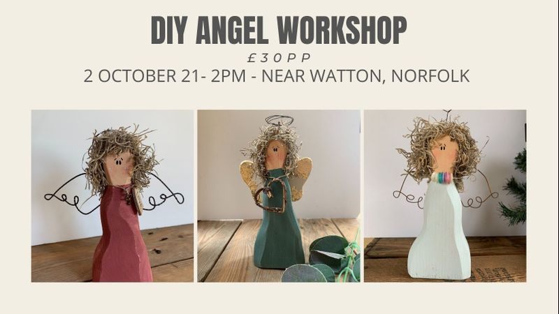 DiY Angel Making Workshop -- You will be able to choose from a wide variety of items to make your angel special - paint, embellishments and a choice of 2 wings.