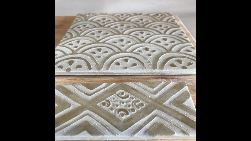 Tile relief before firing