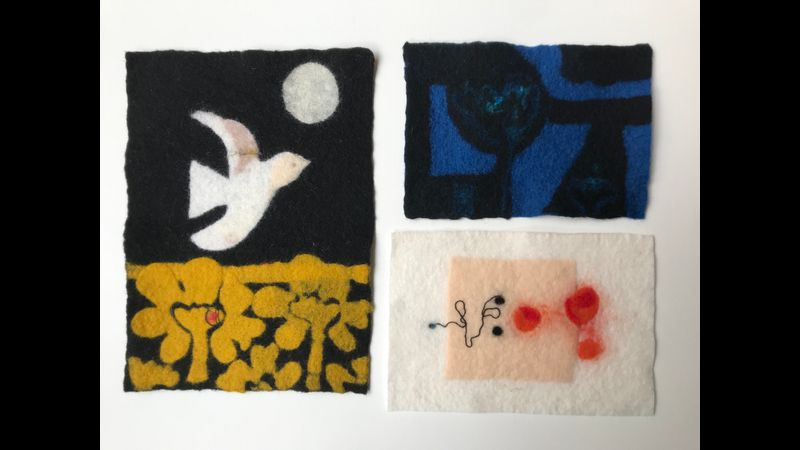 Braque, Matisse and Victor Pasmore inspired pre-felted images