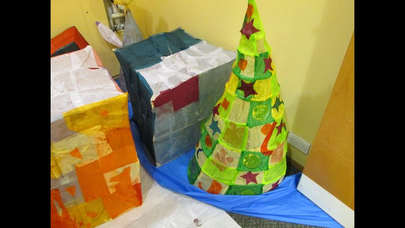 Christmas trees and presents lanterns