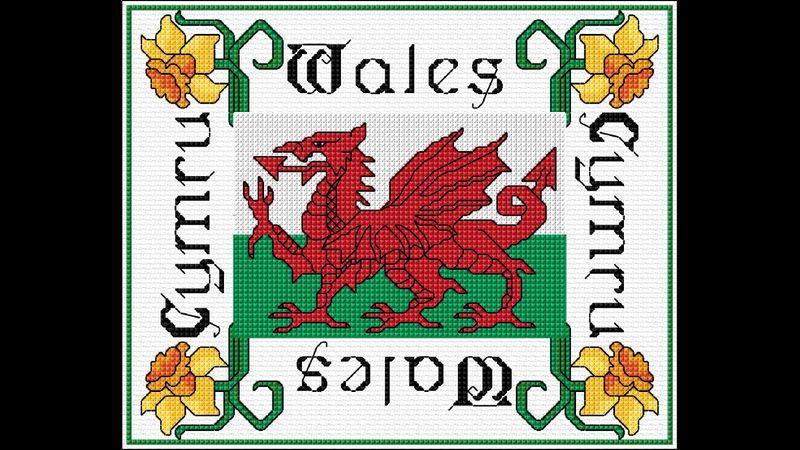 DoodleCraft Design Welsh Dragon in Cross stitch