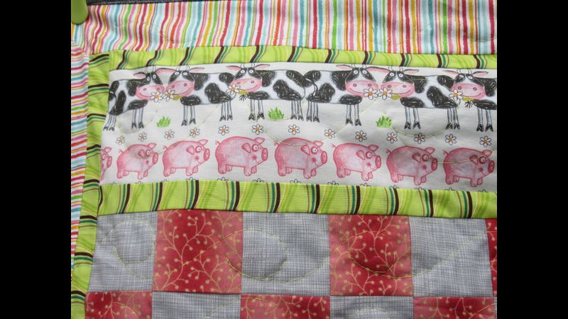 Close up Farmyard Friends quilt