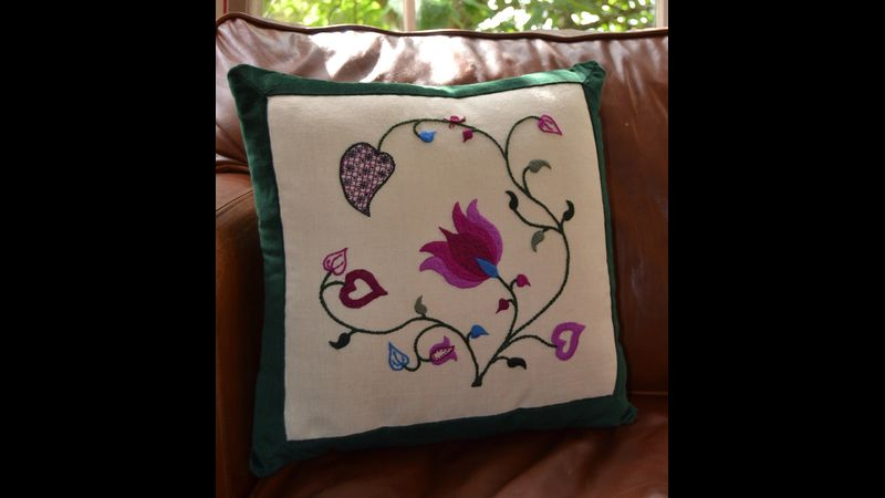Crewelwork cushion - Summer