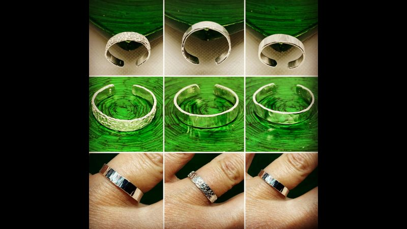 Hammered finish sterling silver adjustable open 4mm width band rings