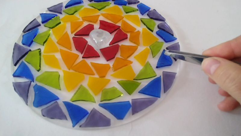 Stained glass mosaic circle sun catcher kit