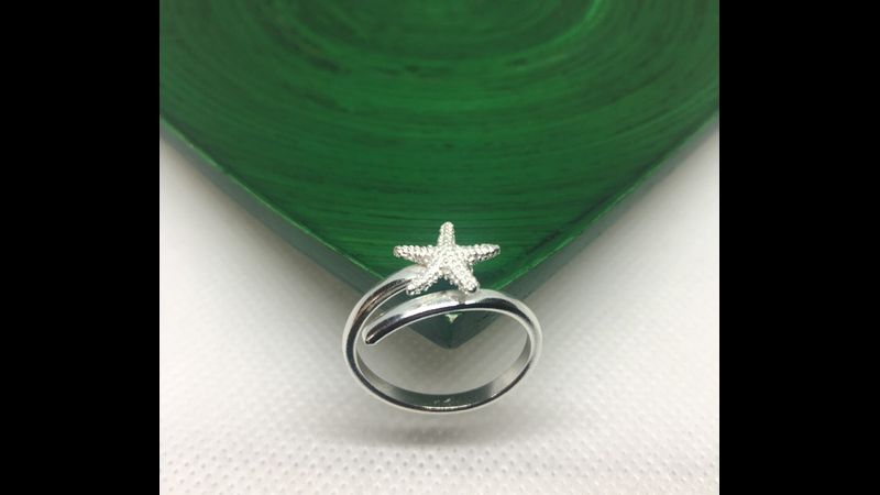 Adjustable sterling silver starfish wrap ring