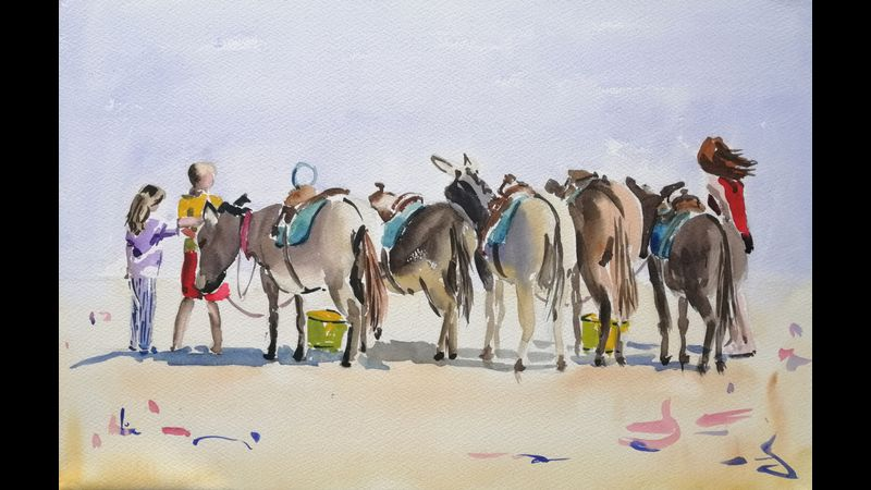 Exmouth Donkeys in water colour