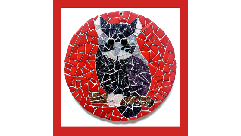 Purple and red round mosaic owl kit