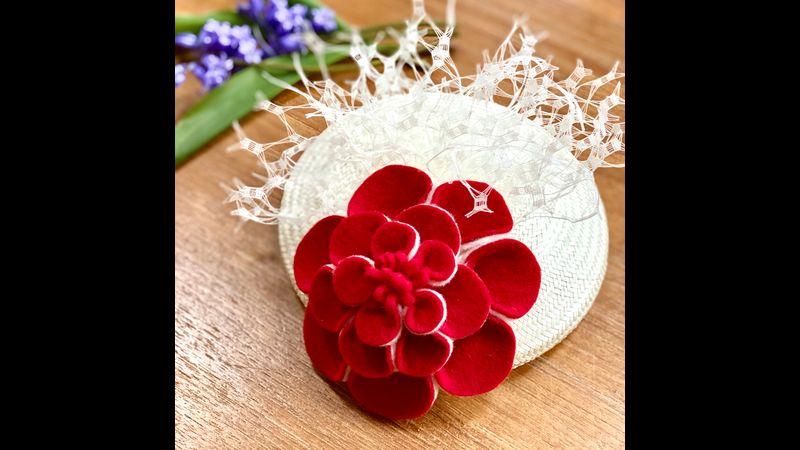English felt flower kit headpiece option red ivory