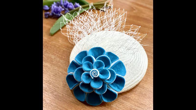 Scots Saltire felt flower kit headpiece option blue ivory
