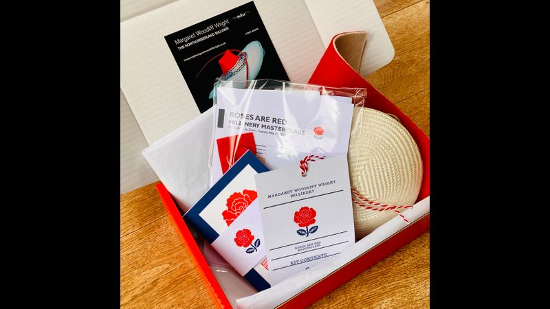 Roses are Red - kit contents felt flower headpiece option red ivory