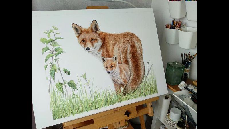 Fox Cub Painting
