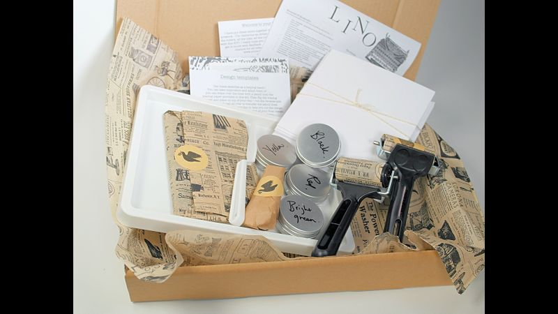 Contents of Lino Cut & Print PLUS kit - all gift wrapped