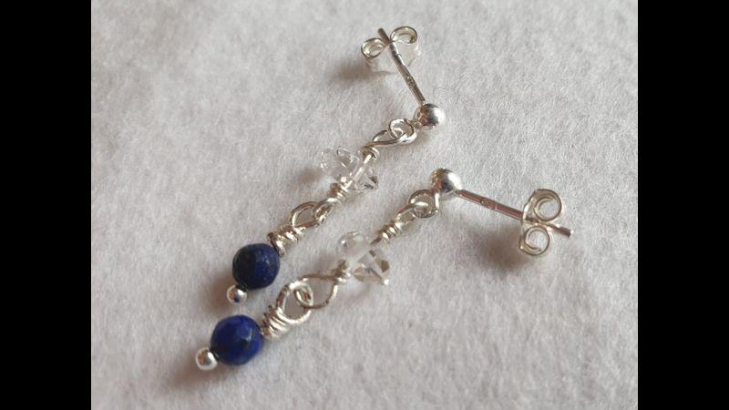 ♥ Unique Exquisite 925 Lapis Lazuli & Herkimer Diamond Earrings ♥
