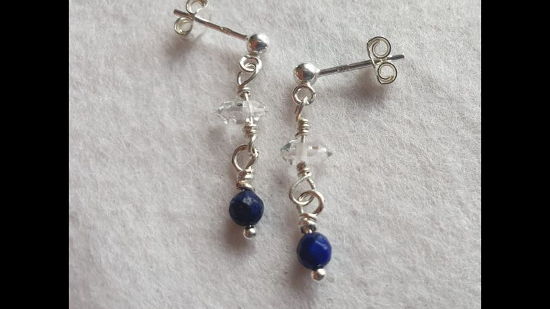 ♥ Herkimer Diamond & Lapis Lazuli 925 Post Earrings ♥