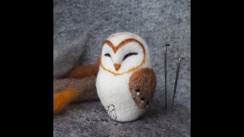 Needle felted barn owl the Lady Moth
