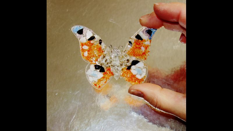 Peacock butterfly fused glass kit by Chrissy Webster