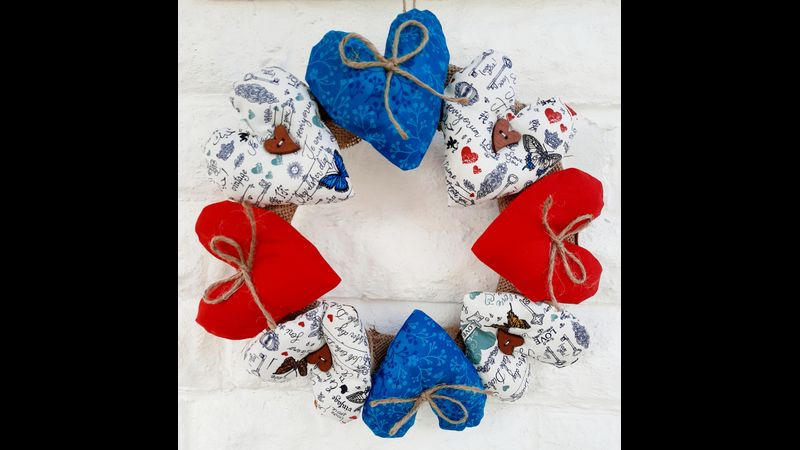 I love you hearts sewing craft kit