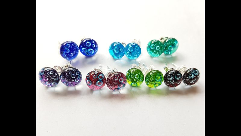 Cobalt, turquoise, emerald, purple, cherry, lime, red bubbles glass stud earrings