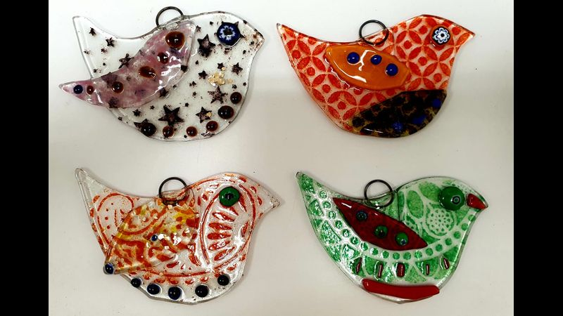 Fused Glass Workshops with Crafts in the Valley. Three Little Birds.