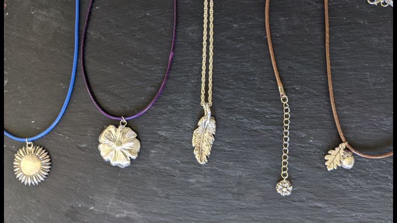 Jewellery made by students on the full day beginners silver clay workshop
