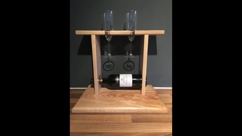 wine glass, bottle and cheese holder, woodwork class, surrey