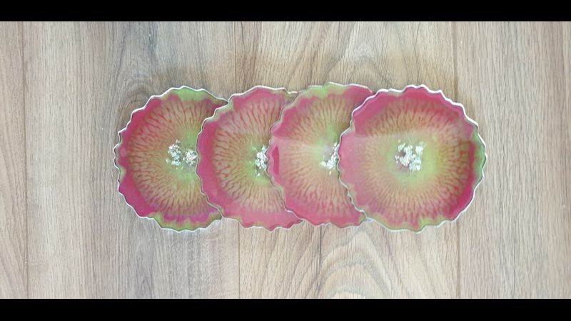 Set of four resin geode coasters ready to use.