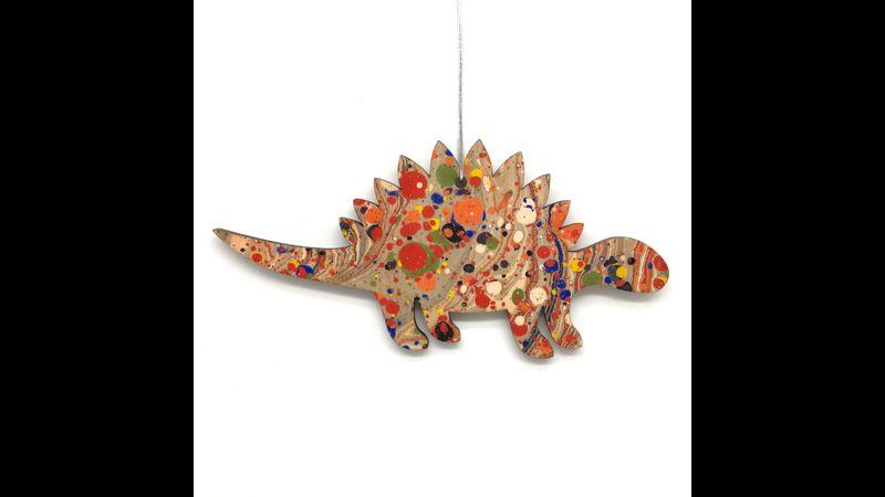 Marbled Woodcut Stegosaurus multi-coloured